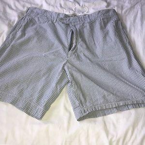 Men's Cremieux Seersucker Blue Shorts Size 36